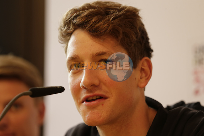 Stefan Kung (SUI) BMC Racing Team press conference before the 104th edition of the Tour de France 2017, Dusseldorf, Germany. 29th June 2017.<br /> Picture: Eoin Clarke | Cyclefile<br /> <br /> All photos usage must carry mandatory copyright credit (&copy; Cyclefile | Eoin Clarke)