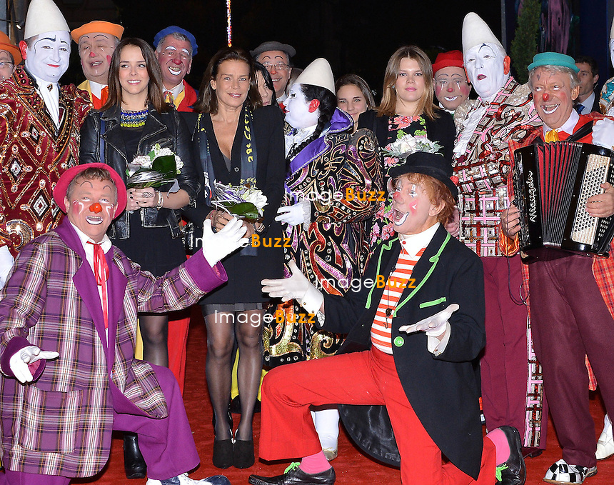 Princess Stephanie of Monaco and her daughters  Pauline Ducruet  and Camille Gottlieb.attend the 2nd day of the 38th Monte-Carlo Circus Festival. Monaco, January 17, 2014.