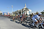 The peloton in action during Stage 1 The Nakheel Stage of the Dubai Tour 2018 the Dubai Tour&rsquo;s 5th edition, running 167km from Skydive Dubai to Palm Jumeirah, Dubai, United Arab Emirates. 6th February 2018.<br /> Picture: LaPresse/Fabio Ferrari | Cyclefile<br /> <br /> <br /> All photos usage must carry mandatory copyright credit (&copy; Cyclefile | LaPresse/Fabio Ferrari)