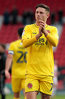 Fleetwood Town's Wes Burns applauds the fans at the final whistle <br /> <br /> Photographer David Shipman/CameraSport<br /> <br /> The EFL Sky Bet League One - Doncaster Rovers v Fleetwood Town - Saturday 6th October 2018 - Keepmoat Stadium - Doncaster<br /> <br /> World Copyright © 2018 CameraSport. All rights reserved. 43 Linden Ave. Countesthorpe. Leicester. England. LE8 5PG - Tel: +44 (0) 116 277 4147 - admin@camerasport.com - www.camerasport.com