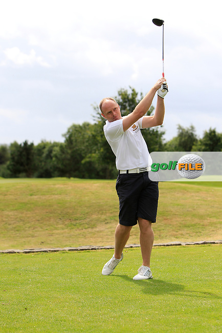Donal McDonnell (Monkstown) on the 1st tee during the Munster Final of the AIG Senior Cup at Dungarvan Golf Club on Saturday 15th August 2015.<br /> Picture:  Thos Caffrey / www.golffile.ie