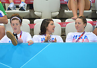 August 02, 2012..Allison Schmitt, Kathleen Hersey, Ariana Kukors at the Aquatics Center on day six of 2012 Olympic Games in London, United Kingdom.