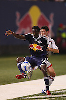 New York Red Bulls forward (30) Francis Doe and New England Revolution defender (6) Jay Heaps. The New York Red Bulls and the New England Revolution played to a 2-2 tie in an MLS regular season match at Giants Stadium in East Rutherford, NJ, on September 22, 2007.
