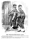"""The Four-Hundred-Pound Look. First Splendid Pauper. """"I hear we've got to reform ourselves this session. How would you set about it?"""" Second Ditto. """"Well, to start with, I should take the Commons as a model and insist on their voting us a bit of pocket-money."""" (two peers enter thhe House of Lords, one carrying a Demand Note - Income Tax Rates in the InterWar era)"""
