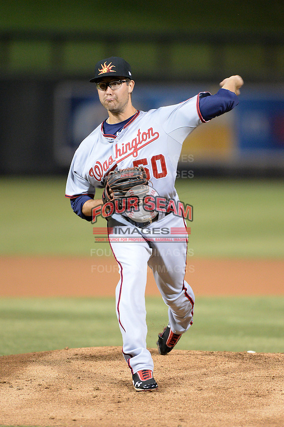 Mesa Solar Sox pitcher Matt Purke (50), of the Washington Nationals organization, during an Arizona Fall League game against the Salt River Rafters on October 10, 2013 at Salt River Fields at Talking Stick in Scottsdale, Arizona.  Mesa defeated Salt River 8-1.  (Mike Janes/Four Seam Images)