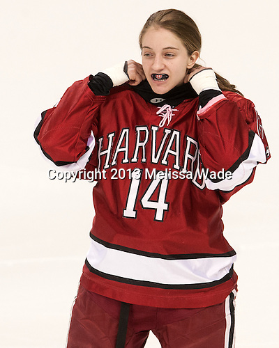Jillian Dempsey (Harvard - 14) - The Boston College Eagles defeated the visiting Harvard University Crimson 3-1 in their NCAA quarterfinal matchup on Saturday, March 16, 2013, at Kelley Rink in Conte Forum in Chestnut Hill, Massachusetts.