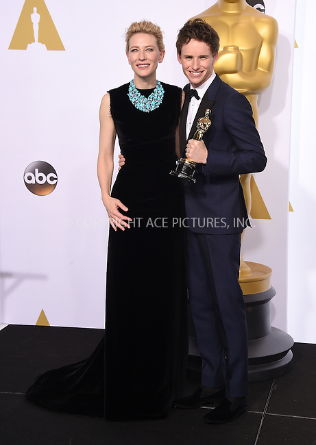 WWW.ACEPIXS.COM<br /> <br /> February 22 2015, LA<br /> <br /> Actors Cate Blanchett and Eddie Redmayne in the press room at the 87th Annual Academy Awards at Loews Hollywood Hotel on February 22, 2015 in Hollywood, California. <br /> <br /> By Line: Z15/ACE Pictures<br /> <br /> <br /> ACE Pictures, Inc.<br /> tel: 646 769 0430<br /> Email: info@acepixs.com<br /> www.acepixs.com