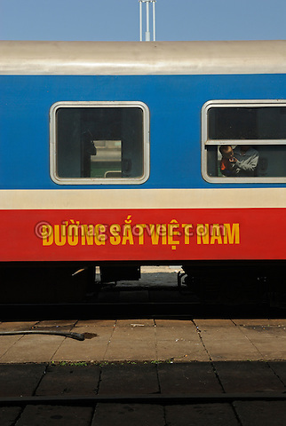 Asia, Vietnam, Da Nang. Train to Hue at the railway station.