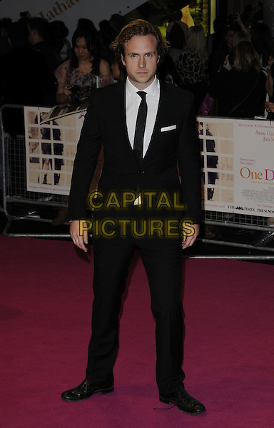"Rafe Spall.""One Day"" UK premiere, Vue Westfield cinema, Westfield Shopping Centre, London, England..August 23rd, 2011.full length black suit tie white shirt.CAP/CAN.©Can Nguyen/Capital Pictures."