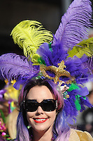 NWA Democrat-Gazette/ANDY SHUPE<br /> Saturday, Feb. 6, 2016, during the 15th Fat Saturday Parade of Fools organized by Fayetteville Mardi Gras in downtown Fayetteville. The 25th annual Fat Tuesday on Dickson Street is planned for 8 p.m. Tuesday beginning at Farrell's Lounge. Visit nwadg.com/photos to see more photographs from the parade.