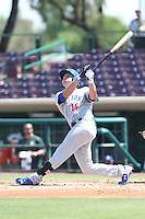 Tyler Marincov (18) of the Stockton Ports bats during a game against the Inland Empire 66ers at The Hanger on April 11, 2015 in Lancaster, California. San Jose defeated Lancaster, 8-3. (Larry Goren/Four Seam Images)