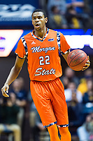 Morgantown, WV - NOV 18, 2017: Morgan State Bears forward Phillip Carr (22) brings the ball up court during game between West Virginia and Morgan State at WVU Coliseum Morgantown, West Virginia. (Photo by Phil Peters/Media Images International)