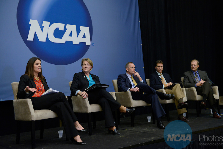 17 JAN 2013: NCAA Educational Session, NCAA Educational Session: Division III: Integrating Athletics Fundraising with Institutional Advancement and Development Programs at the 2013 NCAA Convention held at the Gaylord Texan in Grapevine, TX. Stephen Nowland/NCAA Photos.Pictured: George VanderZwagg, Bonnie T Lewis, Mark Dienhart, Jeff Burns, Monica Baker, Al Bean