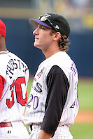 Chris Denorfia #20 of the Louisville Bats during introductions before the Triple-A All-Star Game at Fifth Third Field on July 12, 2006 in Toledo, Ohio.  (Mike Janes/Four Seam Images)