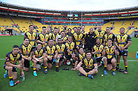 The Lions pose for a group photo after winning the Mitre 10 Cup rugby match between Wellington Lions and Otago at Westpac Stadium in Wellington, New Zealand on Sunday, 1 October 2017. Photo: Dave Lintott / lintottphoto.co.nz
