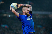 Aron Gunnarsson of Cardiff City takes a throw during the Sky Bet Championship match between Aston Villa and Cardiff City at Villa Park, Birmingham, England on 10 April 2018. Photo by Mark  Hawkins / PRiME Media Images.
