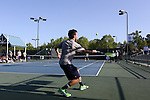 23 April 2015: Notre Dame's players warm up before the match. The Notre Dame University Fighting Irish played the Georgia Tech University Ramblin' Wreck at the Cary Tennis Park in Cary, North Carolina in a 2015 NCAA Division I Men's Tennis and Atlantic Coast Conference Tournament First Round match. Georgia Tech won the match 4-0.