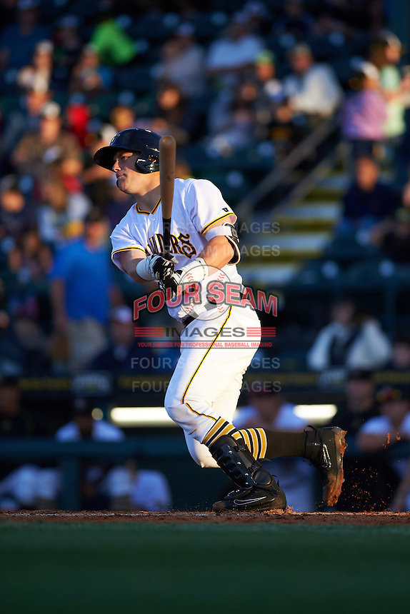 Bradenton Marauders catcher Taylor Gushue (17) at bat during a game against the Fort Myers Miracle on April 9, 2016 at McKechnie Field in Bradenton, Florida.  Fort Myers defeated Bradenton 5-1.  (Mike Janes/Four Seam Images)