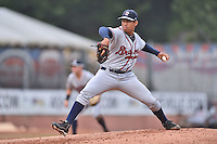 Rome Braves starting pitcher Yean Carlos Gil (48) delivers a pitch during a game against the Asheville Tourists on July 28, 2015 in Asheville, North Carolina. The Tourists defeated the Braves 3-2. (Tony Farlow/Four Seam Images)