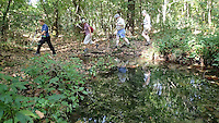 NWA Democrat-Gazette/FLIP PUTTHOFF <br /> Hill 'N Dale Hikers have tried to reach the Lost Ridge Trail twice before Sept. 16 2015, but couldn't because of high water in Leatherwood Creek that prevented stream crossings. Third time was a charm, with the stream bed nearly dry.