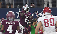 NWA Democrat-Gazette/J.T. WAMPLER  Texas A&M's Donovan Wilson intercepts a pass intended for Arkansas' De'Vion Warren in the fourth quarter Saturday Sept. 29, 2018 at AT&T Stadium in Arlington. The Aggies beat the Razorbacks 24-17.