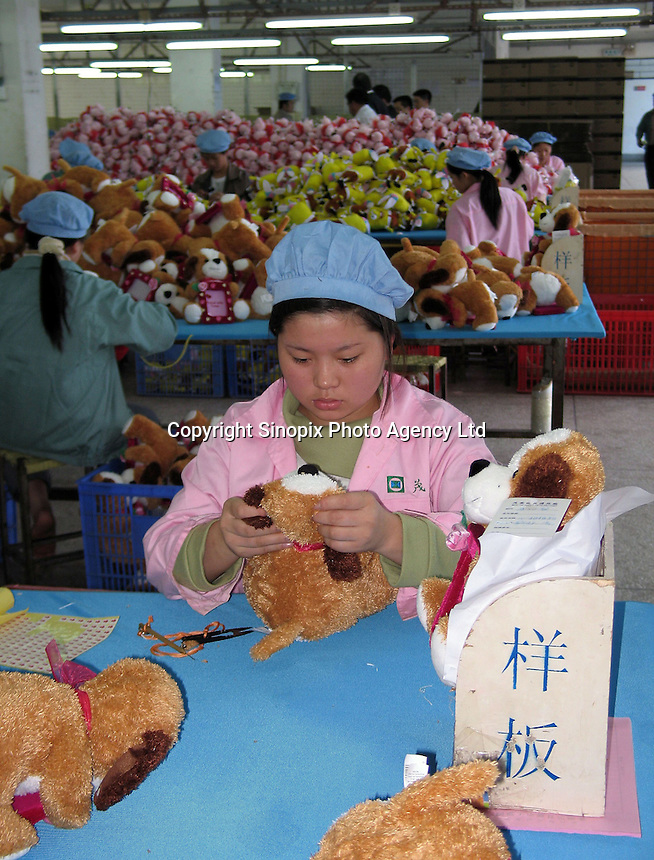 Mou Yip toys Factory in Zhamgmutou district in Dongguan, China. The factory makes toys for many companies and biggest client is Wal-Mart..24-NOV-04