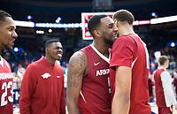 NWA Democrat-Gazette/CHARLIE KAIJO Arkansas Razorbacks forward Arlando Cook (5) and Arkansas Razorbacks forward Daniel Gafford (10) react during the Southeastern Conference Men's Basketball Tournament quarterfinals, Friday, March 9, 2018 at Scottrade Center in St. Louis, Mo. Arkansas Razorbacks defeated the Florida Gators 80-72
