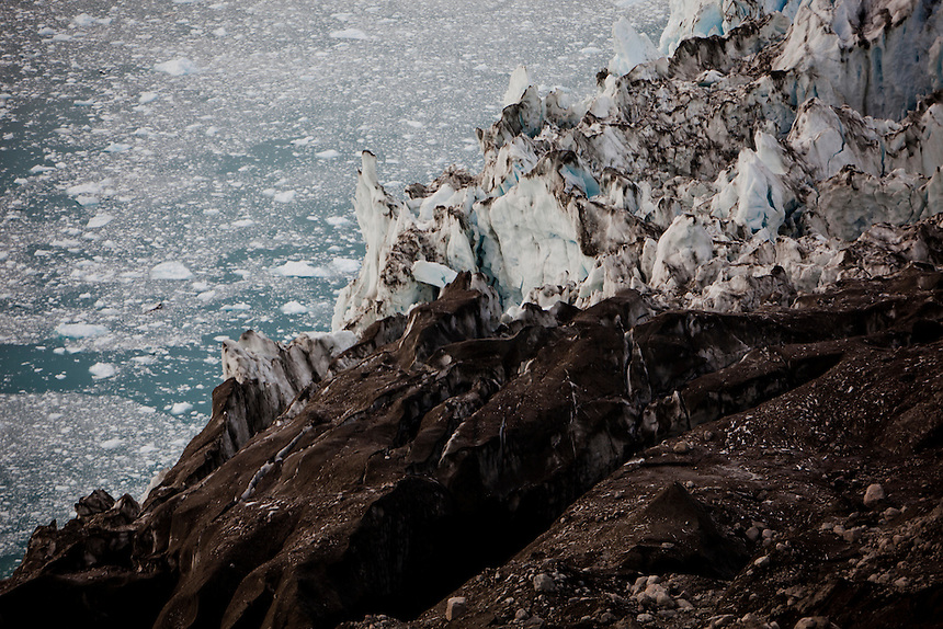 Detail at the 'calving front' of the Eqi glacier, West Greenland, August 2011. Photo: Ed Giles.