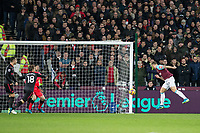 Marko Arnautovic of West Ham United scores a goal but is ruled out during the Premier League match between West Ham United and Arsenal at the Olympic Park, London, England on 13 December 2017. Photo by Andy Rowland.