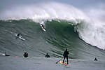 HALF MOON BAY CA - DECEMBER 17:  Big-wave surfers take on massive storm surf of over 40 feet in height at Mavericks on December 17, 2018 in Half Moon Bay, California.  (Photo by Donald Miralle)