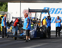 Jun 9, 2017; Englishtown , NJ, USA; Crew member for NHRA top fuel driver Blake Alexander during qualifying for the Summernationals at Old Bridge Township Raceway Park. Mandatory Credit: Mark J. Rebilas-USA TODAY Sports