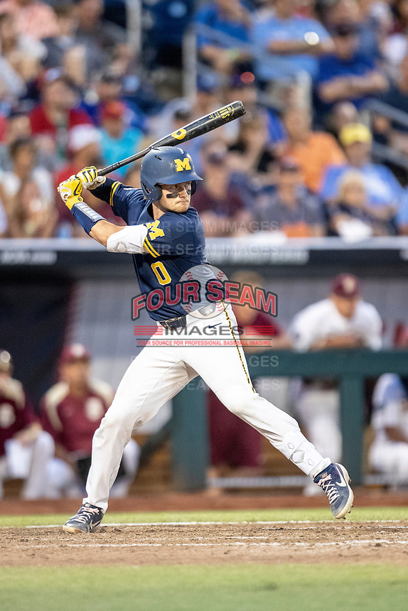 Michigan Wolverines catcher Joe Donovan (0) at bat during Game 6 of the NCAA College World Series against the Florida State Seminoles on June 17, 2019 at TD Ameritrade Park in Omaha, Nebraska. Michigan defeated Florida State 2-0. (Andrew Woolley/Four Seam Images)