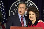Washington, DC - January 11, 2001 -- U.S. President-elect George W. Bush names Elaine Chao as Secretary of Labor in Washington, DC on January 11, 2001.<br /> Credit: Ron Sachs / CNP