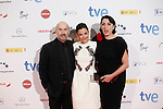 Actor Javier Camara, actress Elena Anaya and Rossi de Palma (R) attends Jose Maria Forque Awards photocall at Municipal Congress Palace in Madrid, Spain. January 13, 2014. (ALTERPHOTOS/Victor Blanco)
