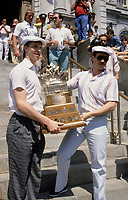 Montreal (Qc) CANADA - 1986 File Photo (exact date unknown)<br /> <br /> Canadien goaler Patrick Roy (L) Pose in front of Montreal City Hall, during the 1986 Stanley Cup Parade
