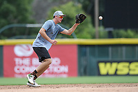 "Logan Davidson of the Oakland Athletics works on defense in a ""Sandlot""-style game concluding a series of workouts with local MLB and MiLB players from around the Upstate region on Thursday June 25, 2020, at Fluor Field at the West End in Greenville, South Carolina. (Tom Priddy/Four Seam Images)"