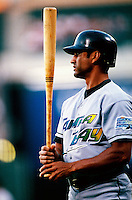 Dave Martinez of the Tampa Bay Devil Rays plays in a baseball game at Edison International Field during the 1998 season in Anaheim, California. (Larry Goren/Four Seam Images)