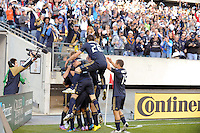 Sebastien Le Toux (9) of the Philadelphia Union celebrates scoring in the fourth minute during a Major League Soccer (MLS) match against D. C. United at Lincoln Financial Field in Philadelphia, PA, on April 10, 2010.