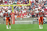 Receivers Charles Wilson (84) and Courtney Hawkins (85) line up for a play, Detroit Lions at Tampa Bay Buccaneers NFL football game won by Tampa Bay 24-14 at Tampa Stadium, in Tampa , Florida on Sunday October 2, 1994 . (Photo by Brian Cleary/bcpix.com)