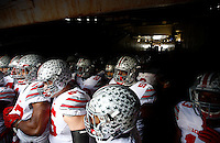 The Ohio State Buckeyes wait to take the field for warm ups before the college football game between the Michigan Wolverines and the Ohio State Buckeyes at Michigan Stadium in Ann Arbor, Saturday afternoon, November 28, 2015. (The Columbus Dispatch / Eamon Queeney)