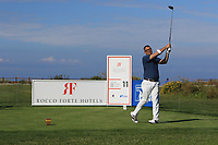 Filippo Alessi (AM) playing with Andy Sullivan (ENG) on the 11th tee during the Pro-Am of the Rocco Forte Sicilian Open 2018 on Wednesday 4th May 2018.<br /> Picture:  Thos Caffrey / www.golffile.ie<br /> <br /> All photo usage must carry mandatory copyright credit (&copy; Golffile | Thos Caffrey)