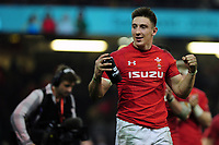 Pictured: Josh Adams of Wales celebrates at full time during the Guinness six nations match between Wales and England at the Principality Stadium, Cardiff, Wales, UK.<br /> Saturday 23 February 2019