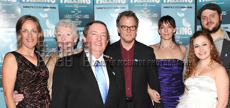 Director Lori Adams, Celia Howard, Producer Terry Schnuck, Daniel Pearce, Julia Murney, Jacey Powers, Daniel Everidge attending the Off-Broadway Opening Night Performance After Party for 'Falling' at Knickerbocker Bar & Grill on October 15, 2012 in New York City.