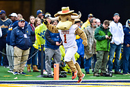 Morgantown, WV - NOV 18, 2017: Texas Longhorns mascot celebrates a touchdown during game between West Virginia and Texas at Mountaineer Field at Milan Puskar Stadium Morgantown, West Virginia. (Photo by Phil Peters/Media Images International)