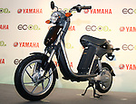 """July 14, 2010 - Tokyo, Japan - Yamaha Motor's new electric commuter vehicle EC-03 is displayed in Tokyo, Japan, on July 14, 2010. Yamaha Motor will begin selling from September 1 in the Tokyo area and nationwide from October 1, then will introduce the EC-03 in the markets of Taiwan and Europe in 2011. The 240,000 yen ($2,700) """"smart minimal commuter"""" achieves a running distance per charge of 43 km, powered by 50V lithium-ion battery manufactured by Sanyo."""
