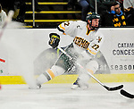 6 November 2009: University of Vermont Catamount defenseman Josh Burrows, a Junior from Prairie Grove, IL, in second period action against the University of Massachusetts Lowell River Hawks at Gutterson Fieldhouse in Burlington, Vermont. The Hockey East rivals battled to a 3-3 tie. Mandatory Credit: Ed Wolfstein Photo