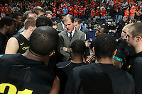 Dec. 17, 2010; Charlottesville, VA, USA; Oregon Ducks head coach Dana Altman talks with his team during the game against the Virginia Cavaliers at the John Paul Jones Arena. Mandatory Credit: Andrew Shurtleff