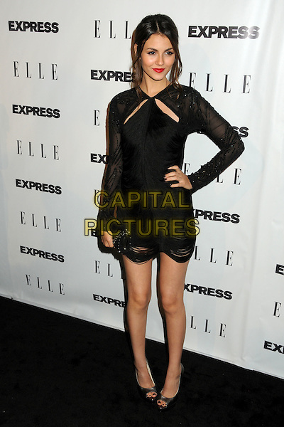 "VICTORIA JUSTICE.ELLE and Express ""25 at 25"" Event held at Palihouse, West Hollywood, California, USA..October 7th 2010.full length long sleeve cut out dress hand on hip sheer open toe shoes clutch bag black beaded .CAP/ADM/BP.©Byron Purvis/AdMedia/Capital Pictures."
