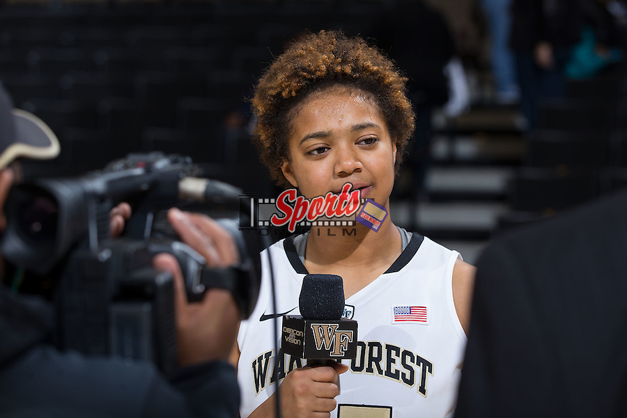 Ariel Stephenson (25) of the Wake Forest Demon Deacons is interviewed following the win over the North Carolina Tar Heels at the LJVM Coliseum on January 21, 2016 in Winston-Salem, North Carolina.  The Demon Deacons defeated the Tar Heels 75-63.  (Brian Westerholt/Sports On Film)