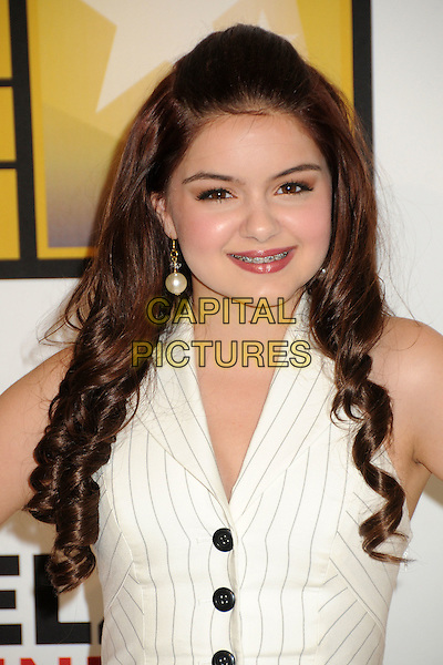 Ariel Winter.1st Annual Critics' Choice Television Awards held at The Beverly Hills Hotel, Beverly Hills, California, USA, .20th June 2011..portrait headshot  smiling white halterneck pinstripe catsuit pantsuit jumpsuit buttons waistcoat  pearl earring  .CAP/ADM/BP.©Byron Purvis/AdMedia/Capital Pictures.